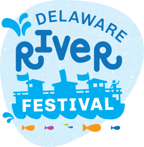 "Delaware River Festival features a light blue blob with dark blue, orange, and pink fish outlines under the ferry sihlouette and water droplets spewing from the ferry column with the words ""Delaware River Festival."""